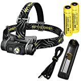 Nitecore HC60 Neutral White 1000 Lumen USB Rechargeable LED Headlamp with 2X 3400 mAh Rechargable Batteries, Charger and LumenTac Adapters