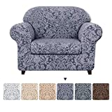 subrtex Sofa Slipcover 2-Piece Jacquard Damask Couch Cover with Seat Cushion Stretch Furniture Protector for Armchair in Living Room for Kids, Pets (Small,Grayish Blue)