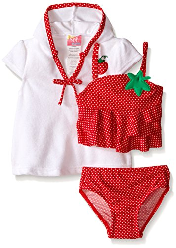 Sol Swim Baby Girls' Strawberry Doll Swimsuit with Terry Cover Up, Red, 18 Months