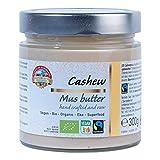 Crema de anarcados orgánica pura 300g BIO Fairtrade, mantequilla, puré, 100% de anarcados, sin sal y azúcar, vegana, cashew butter