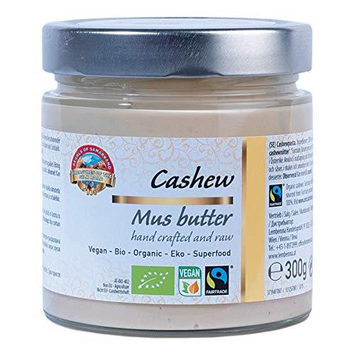 Bio weißes Cashewmus pur 300g Fairtrade Cashewbutter, Cashewpüree, cashew butter, Nussmus aus 100% cashews, kaschu, ohne Salz und Zucker, vegan