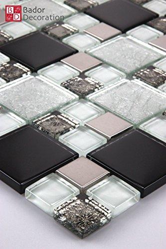 1 Matte Glasmosaik Mosaikfliesen Glas Edelstahl 8mm 15x15cm Schwarz Silber weiß