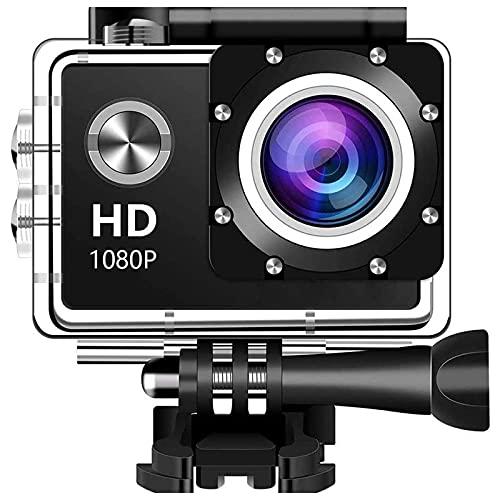 Videocamera digitale Action Camera, schermo LCD da 12 MP 1080P da 2 pollici, videocamera sportiva impermeabile con obiettivo grandangolare da 140 gradi, videocamera sportiva DV da 30 m con (nero)