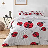 Soefipok Red Lady Bug Juego de Funda nórdica de 3 Piezas Juego de sábanas con Funda de edredón Moderno Microfibra hipoalergénica Ultra Suave (1 Funda nórdica y 2 Fundas de Almohada)