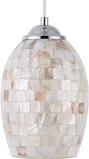 SHENGYADI Coast Mini Pendant Light with Hand Crafted Mosaic Shell Shape Modern Glass Pendant Lighting for Kitchen Island Living Room Bedroom Bar Cafe Shop, Chrome Finish