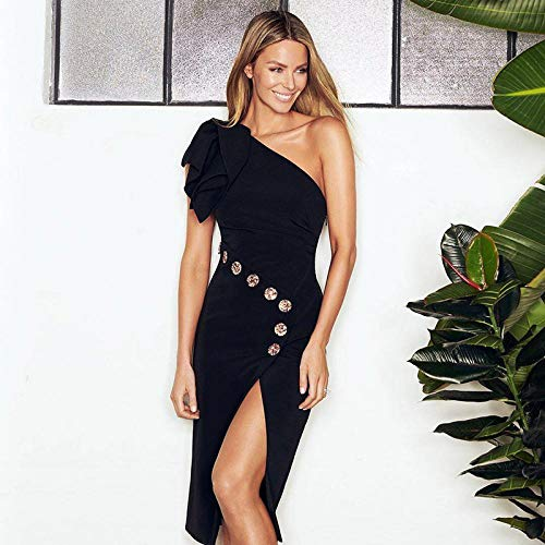 Partykleid Frauen One Shoulder Button Slit Bandagenkleid Party Club Knielanges, Elegantes, figurbetontes Kleid-Schwarz_S.