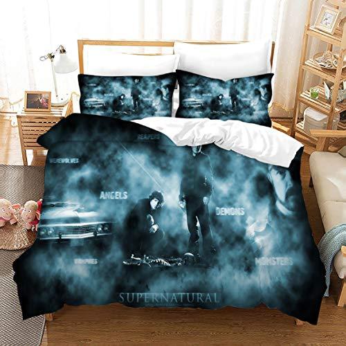 Ruiqieor Bettwäsche 135x200cm,Supernatural Bettwäsche Set 3 Teilig, Supernatural Bettbezug mit Reißverschluss,3D Bettwäsche, KinderBettwäsche,100% Mikrofaser,3D-Digitaldruck(#14)