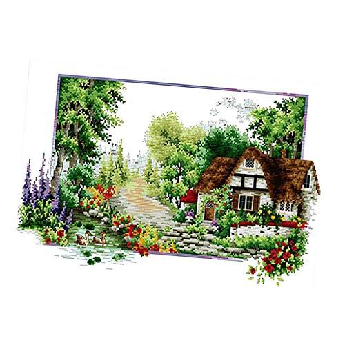 Stickpackung Kreuzstich Set Wandbild Garten Haus, mit Garn, vorgedruckt Kreuzstichpackung für Anfänger