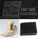 WUTA Classic Wallet Acrylic Template Leathercraft Pattern Set Clear Model for Making Men/Women Business Short Wallet Purse WT870