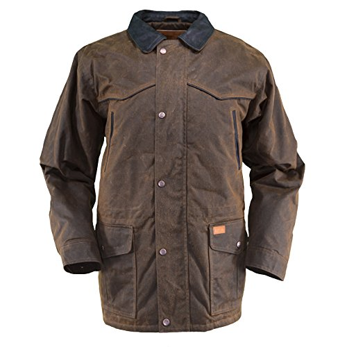 Outback Trading Company Men's 2707 Pathfinder Waterproof Breathable Fleece Lined Cotton Oilskin Western Jacket, Bronze, X-Large