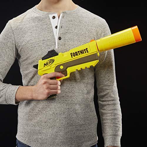 Nerf Fortnite SP-L Nerf Elite Dart Blaster with Detachable Barrel and 6 Official Nerf Fortnite Elite Darts For Youths, Teens, Adults
