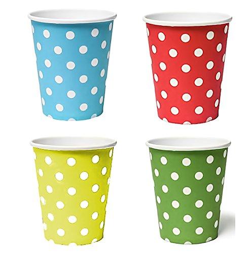 BlueBD 100X tazza 200ML punti dots (blu, giallo, verde, rosso), bicchieri di carta usa e getta per bevande Snacks bevande calde e fredde