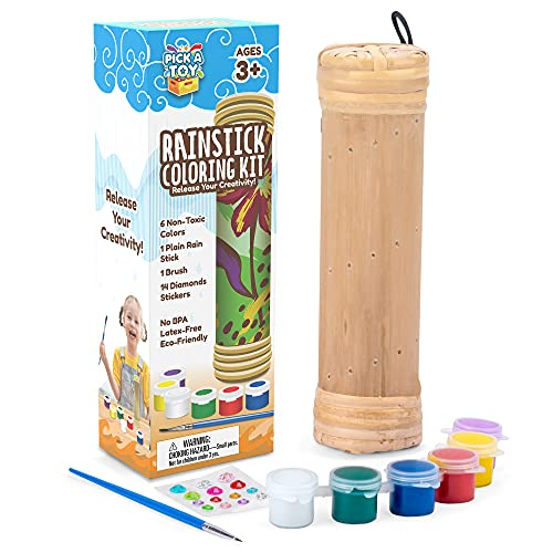 Pick A Toy DIY Rain Stick Musical Instrument with Paint and Paintbrush, Fun Arts and Crafts Kit for Kids, Teens, and Adults, Natural Bamboo Wood Tube, Crafting Gift Idea