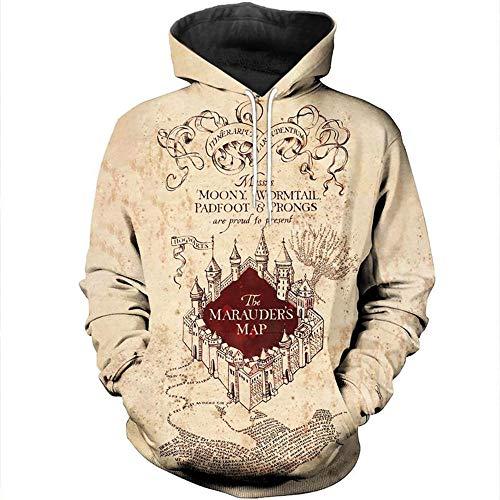 Harry Potter con Capucha Cardigan,Gryffindor Ravenclaw Slytherin Hufflepuff 3D Imprimir la Camiseta Unisex de la Cremallera de la Chaqueta de Manga Larga Camisa con Capucha-Color_M
