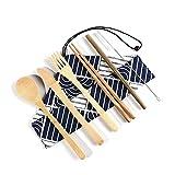 CUIZC Juego de cubiertos de bambú respetuoso con el medio ambiente, 6 piezas