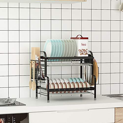 DYOYO Escurridor de Platos de Aluminio Escurreplatos con Fregadero Extensible, en un Secador de Fregadero y Desagüe Amplio, Fombrilla de Secado y Rejilla de Refrigeración para Cocina