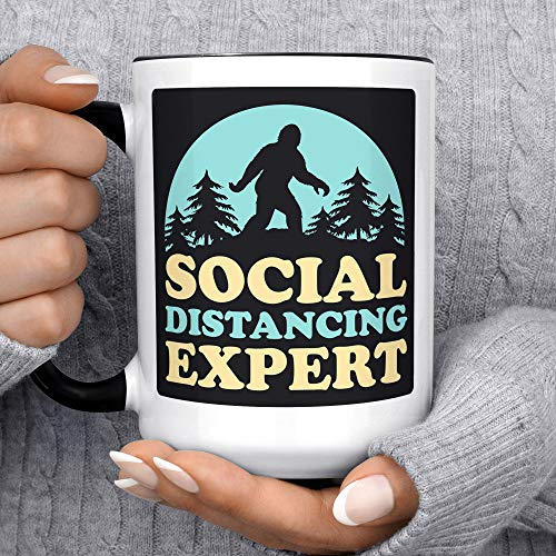 Social Distance Tazza da Caffè Tazza da Tè Divertente Bigfoot Social Distancing Expert Microonde Lavastoviglie Sicuro Yeti Quarantena Tazza di Ceramica