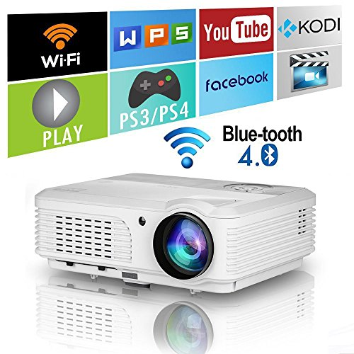 Wifi Bluetooth LED HD Projector HDMI Wireless Android Smart LCD Video Projector WXGA Support 1080P 4400 Lumens Home Theater Movie Gaming TV Outdoor Entertainment Proyector with Built-in Speaker