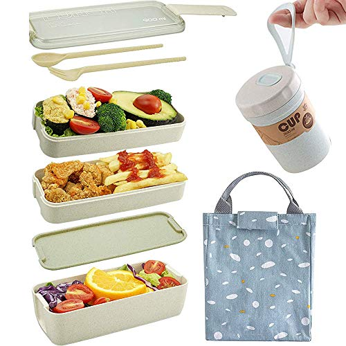 Lunch Box Set (11 pcs), 3-Layer Leak-proof Bento Box with Utensils, for Kid Adult & Office Worker, Microwave Safe, with Bonus Lunch Bag, Gift