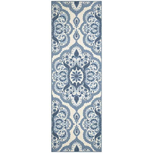 Maples Rugs Vivian Medallion Runner Rug Non Slip Hallway Entry Carpet [Made in USA], 2 x 6, Blue