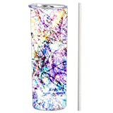 SassyCups Tie Dye Tumbler with Straw | Fun Vacuum Insulated Stainless Steel Skinny Tumbler | Abstract Reusable Cup | Unique Batik Tie Dye Water Bottle | Cute Travel Mug For Friends (20 oz, Colorful)