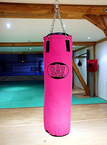 BAY® RIESEN GROSSER 130 x 40 cm PINK/SCHWARZ Sandsack Boxsack mit Stahlkette, rosa Damen Frauen