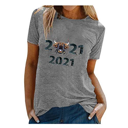 YANFANG 2021 Nueva Camiseta Holgada De Manga Corta con Estampado Moda para Mujer Cuello Redondo, AlgodóN, Parte Superior BáSica Encaje