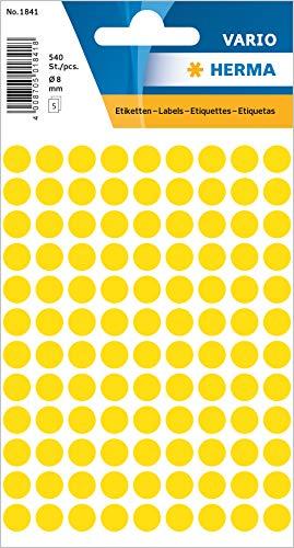 HERMA 1841 Vielzweck-Etiketten / Farbpunkte rund (Ø 8 mm, 5 Blatt, Papier, matt) selbstklebend, permanent haftende Markierungspunkte zur Handbeschriftung, 540 Klebepunkte, gelb