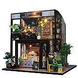 DIY Small Dollhouse - Handcraft Cabin Hut Coffee House Miniatura Kid's Cottage Toy con Muebles Kit De Casa De Muñecas De Madera Modelo Regalos Creativos