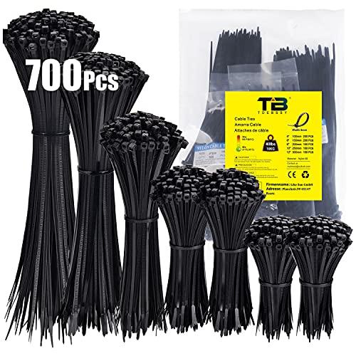 Kabelbinder, Kabelbinder Schwarz Breite 4mm, 700 Stück TDEBSSY Kabelbinder Set, UV-Beständig, 5 Größen: (200p:100mm/150mm 100p:200mm/250mm/300mm), Schwarz