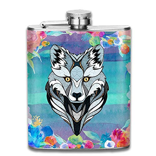 Wolf Head Cartoon Funny Animal Logo 304 Stainless Steel Pocket Hip Flask Outdoor Portable Pattern Flagon Water Flasks 70Z