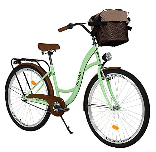 Milord. Bicicletta Confortevole con Cestino Olandese, Bici da Donna, 3 Marce, Verde Menta, 26'