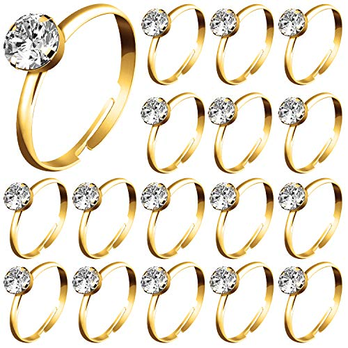Whaline 72Pcs Gold Bridal Shower Diamond Rings, Adjustable Engagement Rings for Wedding Table Decorations, Bridal Shower Game and Party Favors