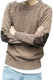 [フォーリーフ]ニットセーター 長袖ニット インナーニット プルオーバー メンズ クルーネック 異素材切替 肘当て