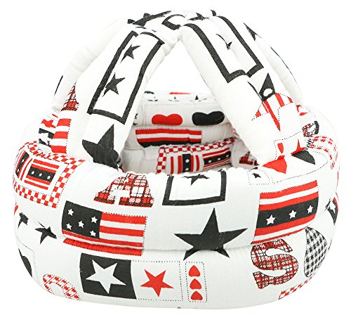 Simplicity Baby No Bumps Safety Helmet Head Cushion Bumper Bonnet, White Star