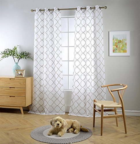 """MIUCO White Sheer Curtains Embroidered Trellis Design Grommet Curtains 84 Inches Long for French Doors 2 Panels (2 x 37 Wide x 84"""" Long) White/Taupe Embroidery"""