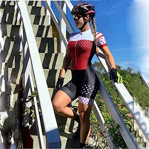 Triathlon Collant Cycling Jersey Suit Ladies Estate New Racing Suit Tuta a maniche corte tuta sportiva (Color : K2099, Size : SMALL)