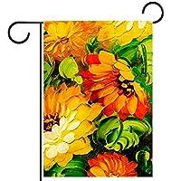 ガーデンフラッグ庭の旗、屋外バナー垂直12x18インチ油絵の花 家の装飾のため