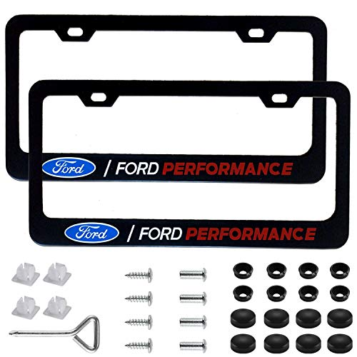 Sparkle-um 2Pcs Newest Matte Aluminum Alloy Ford Logo License Plate Frame,with Screw Caps Cover Set,Applicable to US Standard car License Frame, for Ford.(Black)