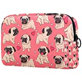Bolsa de maquillaje con diseño de cachorros de carlino