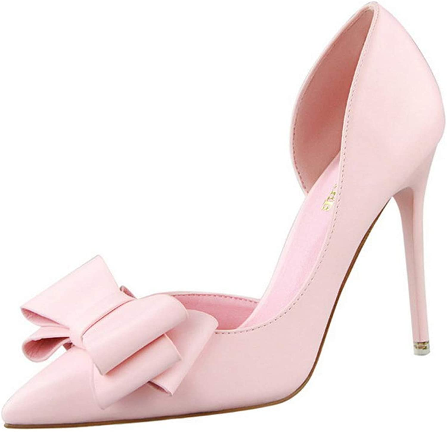 Drew Toby Women Pumps Sweet Bowtie Pointed Toe Fashion Patent Leather Shallow High Heels