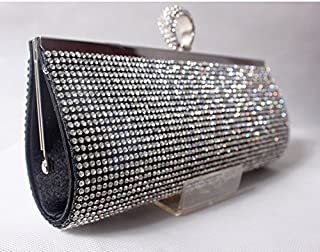 European and American Fashion Diamond Dinner Bag Hand Bag Bride Ring Finger Bag,Black