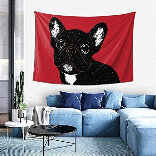N-E Cute Brindle Frenchie Puppy Tapestry Wall Art Hanging for Living Room Dorm Bedroom Party Home Decor 60 X 40 inch