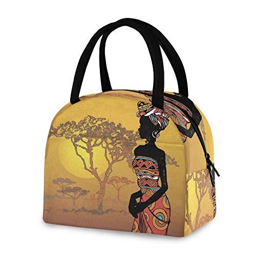 RELEESSS Isolierte Lunchtasche Vintage afrikanische Frauen Tote Kühltasche Wiederverwendbare Kühltasche für Frauen Männer Mädchen Jungen