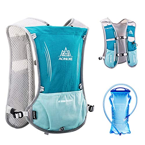 TRIWONDER Hydration Pack Backpack 5L Marathoner Running Race Hydration Vest (Light Blue - with 1.5L Water Bladder)