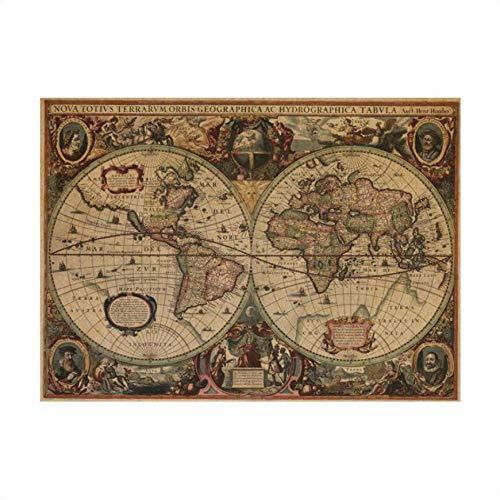 Antike Seekarten Jahrgang Kraftpapier Poster Wandaufkleber Raumdekoration Abziehbild globale Karten Wandbild Kunst