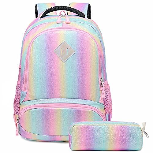 Zaino Glitter per Ragazze Arcobaleno - Zaino Prescolare per Bambini Carino Zaino da Viaggio Leggero Bel Regalo da Giorno Casual per Ragazze 2 Packs - Shiny Pink