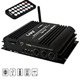 Mini Bluetooth Amplificador, FisherMo Wireless Streaming Digital Class D Amplificadores Hi-Fi de 4 canales Audio Stereo Music Reproductor SD USB Receptor FM Radio para teléfono celular PC TV Car