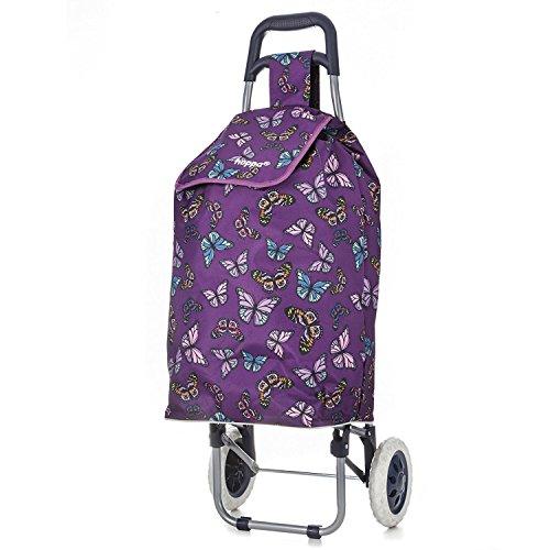 Hoppa 47Ltr Lightweight Shopping Trolley, Hard Wearing & Foldaway for Easy Storage with 3 Years Guarantee (Purple Butterflies)