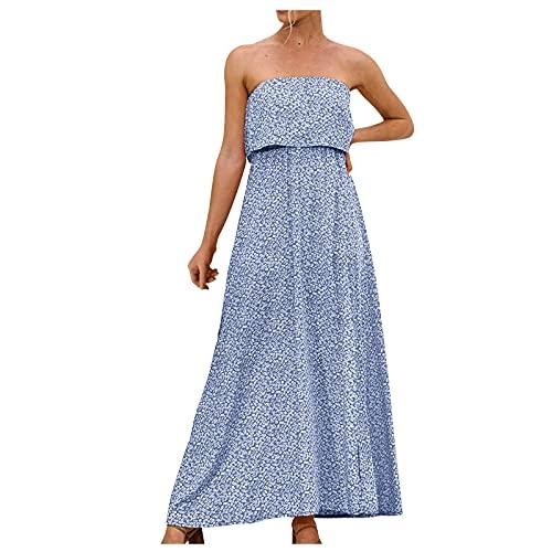 Liably Vestido de verano para mujer con hombros descubiertos, sexy, con volantes, sin tirantes, estilo bohemio, ligero, fino, para el tiempo libre, para fiestas, marine, S